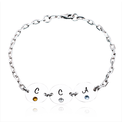 Trio - bratara personalizata din argint