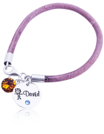 David - bratara personalizata din piele naturala si argint