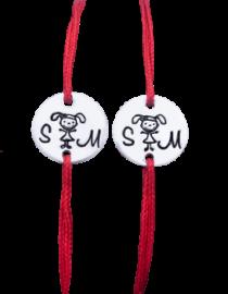 SM-set bratari cu snur rosu personalizate